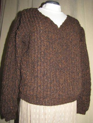Vertical Rib V-Neck Womens Crochet Sweater #2 - I Knit and ...