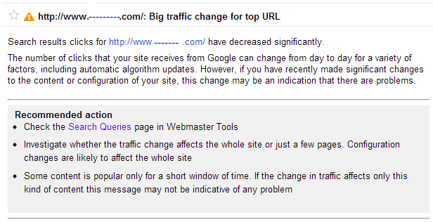 GWT notice after Crowdflower traffic stopped